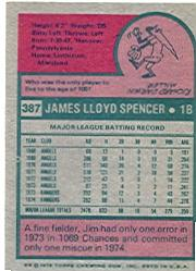 1975 Topps #387 Jim Spencer back image