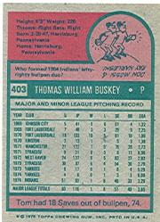 1975 Topps #403 Tom Buskey RC back image