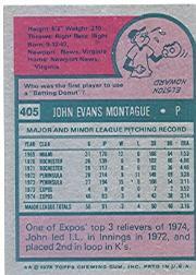 1975 Topps #405 John Montague RC back image