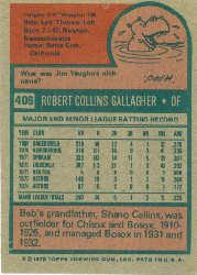 1975 Topps #406 Bob Gallagher back image