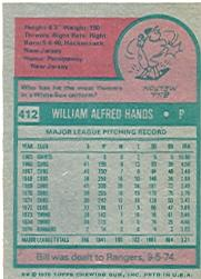 1975 Topps #412 Bill Hands back image