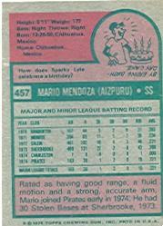 1975 Topps #457 Mario Mendoza RC back image