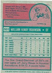 1975 Topps #501 Bill Robinson back image