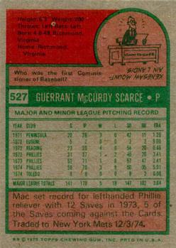 1975 Topps #527 Mac Scarce back image