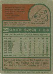 1975 Topps #529 Gary Thomasson back image