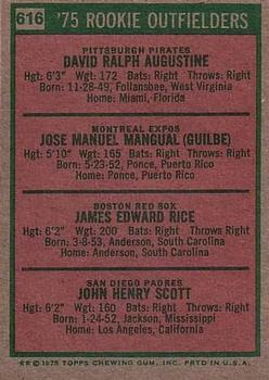 1975 Topps #616 Rookie Outfielders/Dave Augustine/Pepe Mangual RC/Jim Rice RC/John Scott RC back image