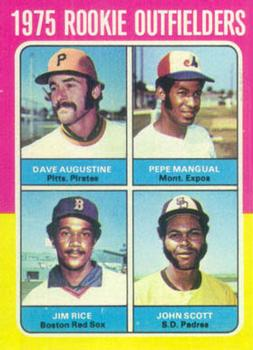 1975 Topps #616 Rookie Outfielders/Dave Augustine/Pepe Mangual RC/Jim Rice RC/John Scott RC
