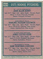 1975 Topps #621 Rookie Pitchers/John Denny RC/Rawly Eastwick RC/Jim Kern RC/Juan Veintidos RC back image