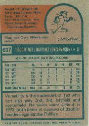 1975 Topps #637 Ted Martinez back image
