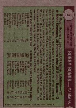 1976 Topps #2 Bobby Bonds RB back image
