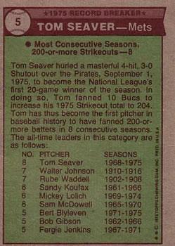 1976 Topps #5 Tom Seaver RB back image