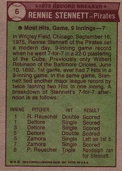 1976 Topps #6 Rennie Stennett RB back image