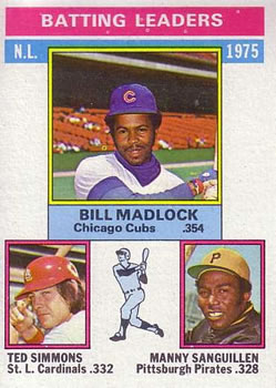 1976 Topps #191 NL Batting Leaders/Bill Madlock/Ted Simmons/Manny Sanguillen