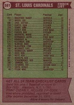 1976 Topps #581 St. Louis Cardinals CL/Red Schoendienst MG back image