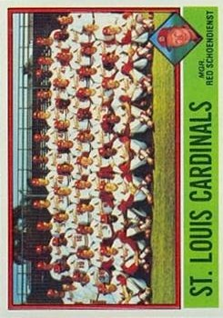 1976 Topps #581 St. Louis Cardinals CL/Red Schoendienst MG