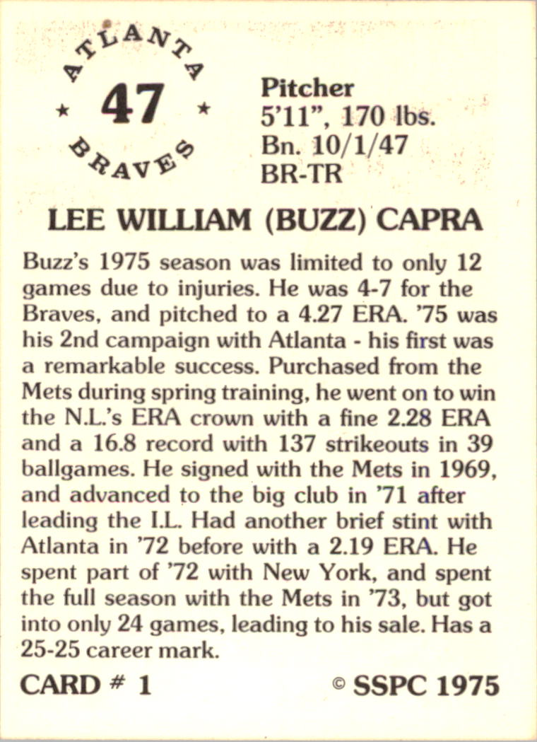 1976 SSPC #1 Buzz Capra back image