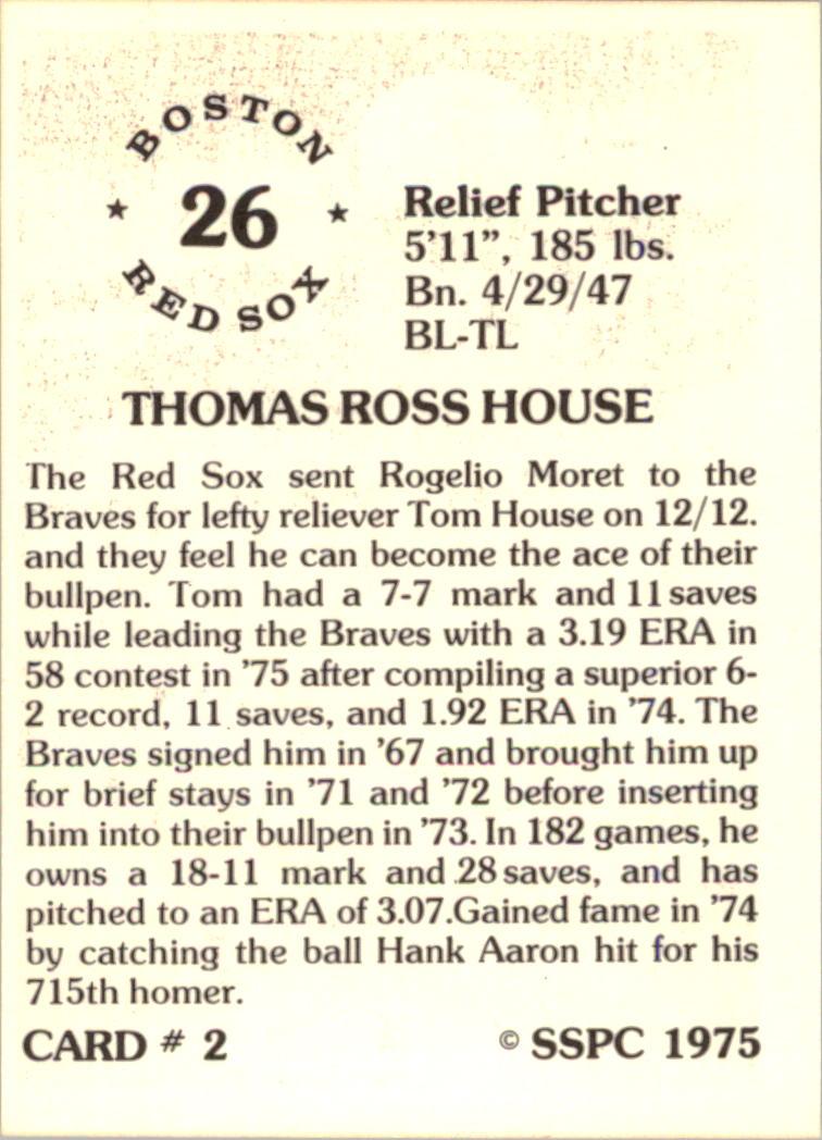 1976 SSPC #2 Tom House back image