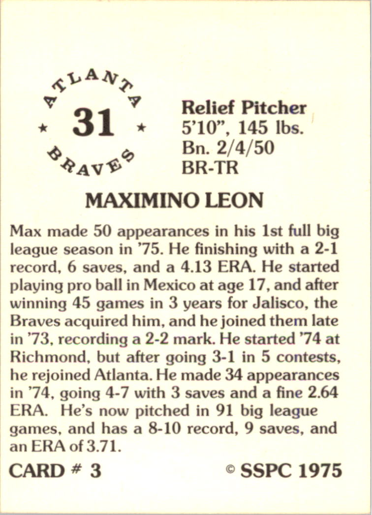 1976 SSPC #3 Max Leon back image