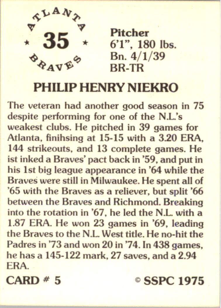 1976 SSPC #5 Phil Niekro back image