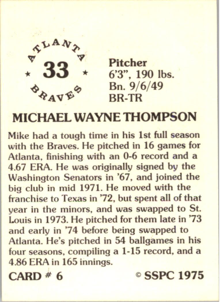 1976 SSPC #6 Mike Thompson back image