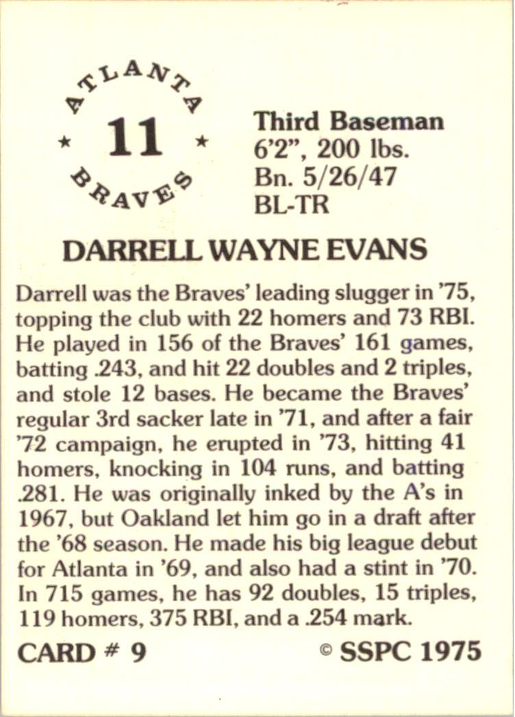 1976 SSPC #9 Darrell Evans back image