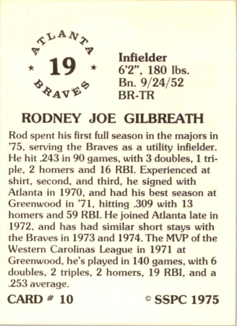 1976 SSPC #10 Rod Gilbreath back image