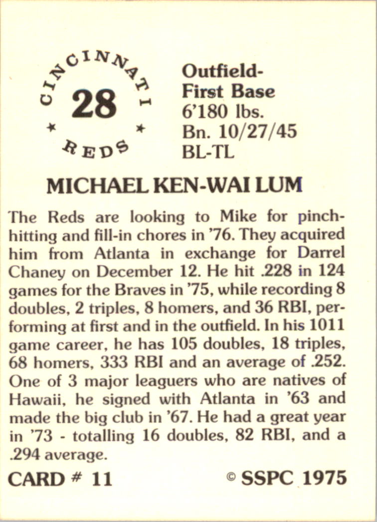 1976 SSPC #11 Mike Lum back image