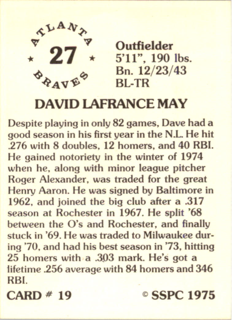1976 SSPC #19 Dave May back image