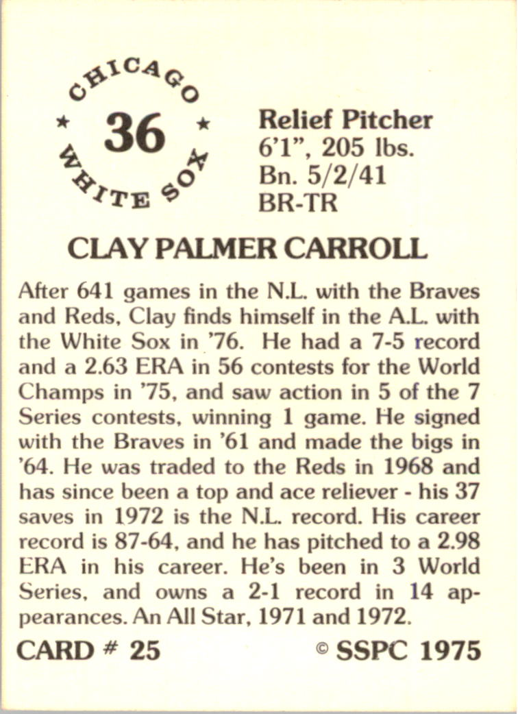 1976 SSPC #25 Clay Carroll back image