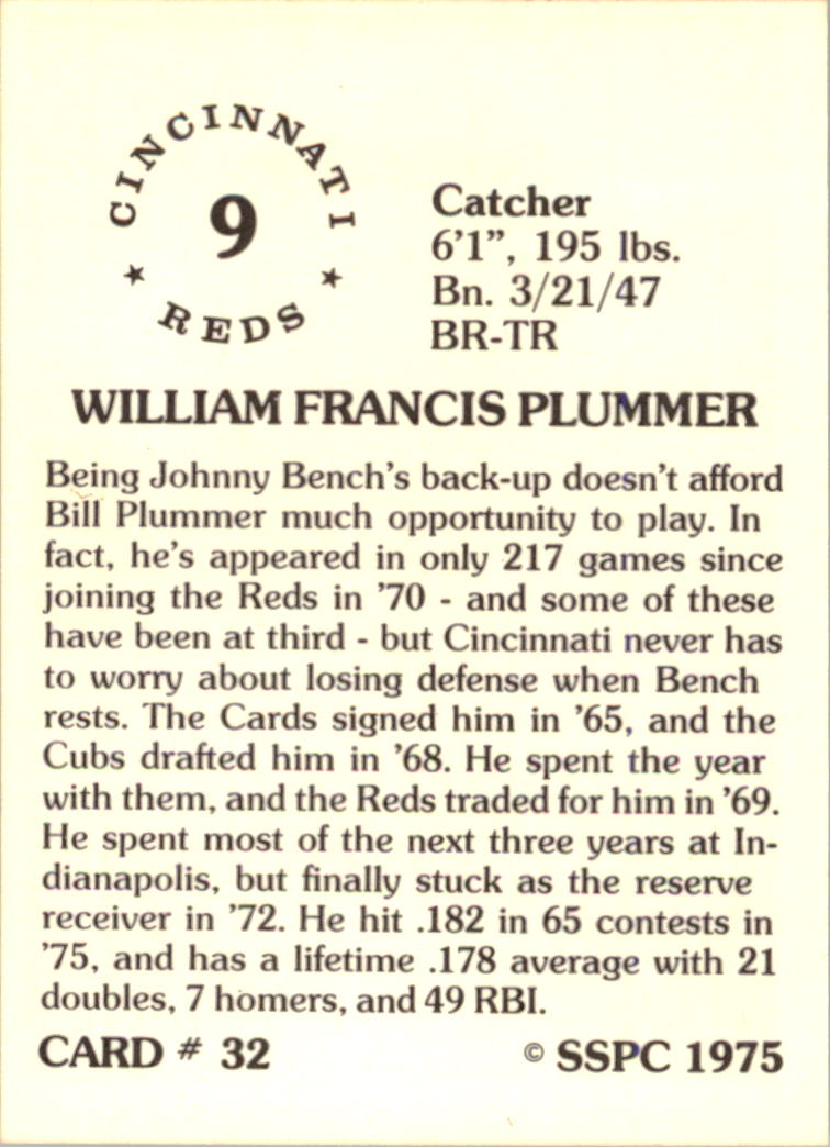1976 SSPC #32 Bill Plummer back image