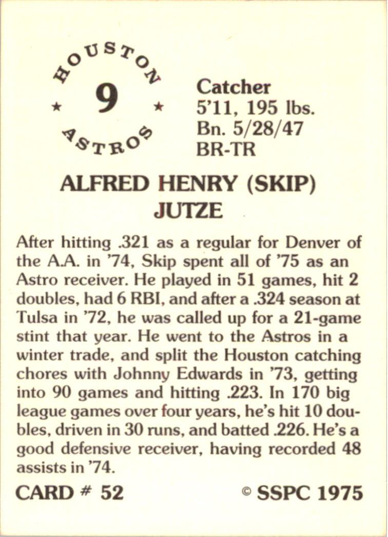 1976 SSPC #52 Skip Jutze back image