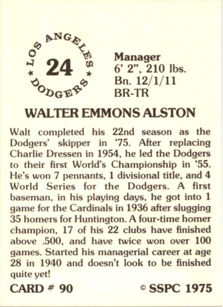 1976 SSPC #90 Walt Alston MG back image