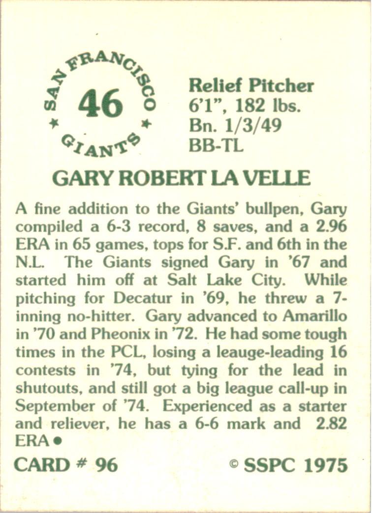 1976 SSPC #96 Gary Lavelle back image