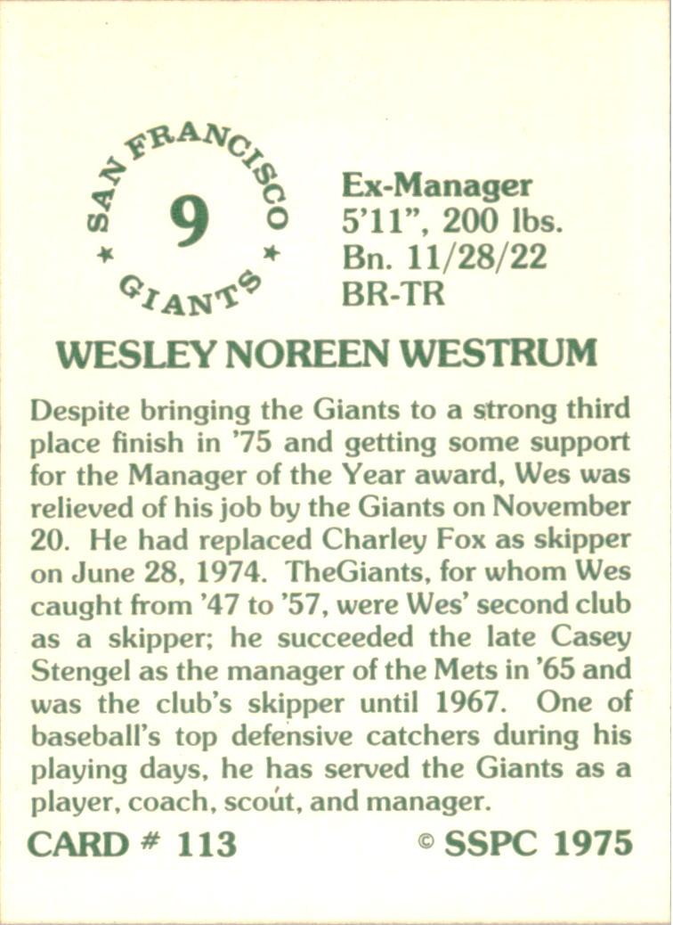 1976 SSPC #113 Wes Westrum MG back image