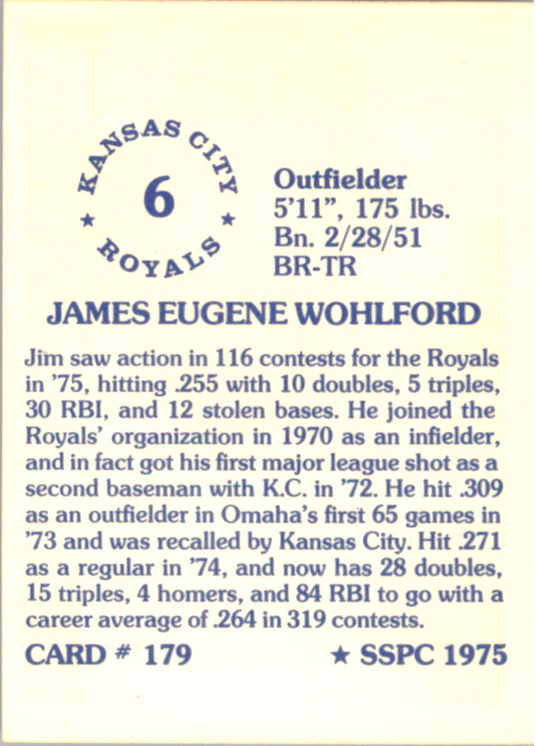 1976 SSPC #179 Jim Wohlford back image