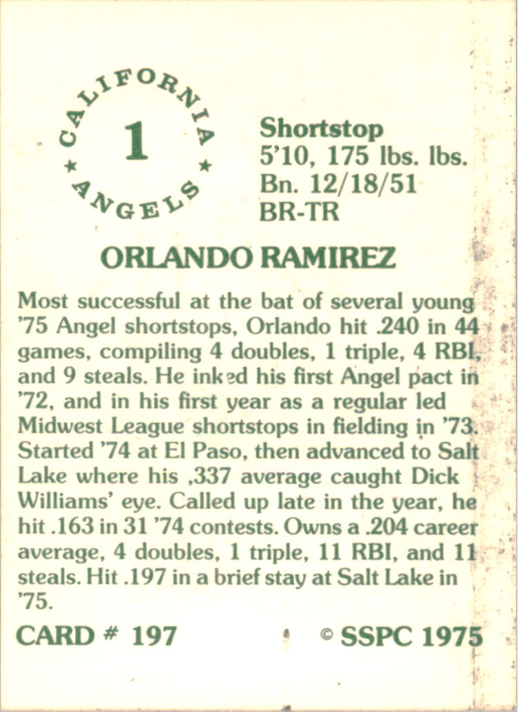 1976 SSPC #197 Orlando Ramirez back image