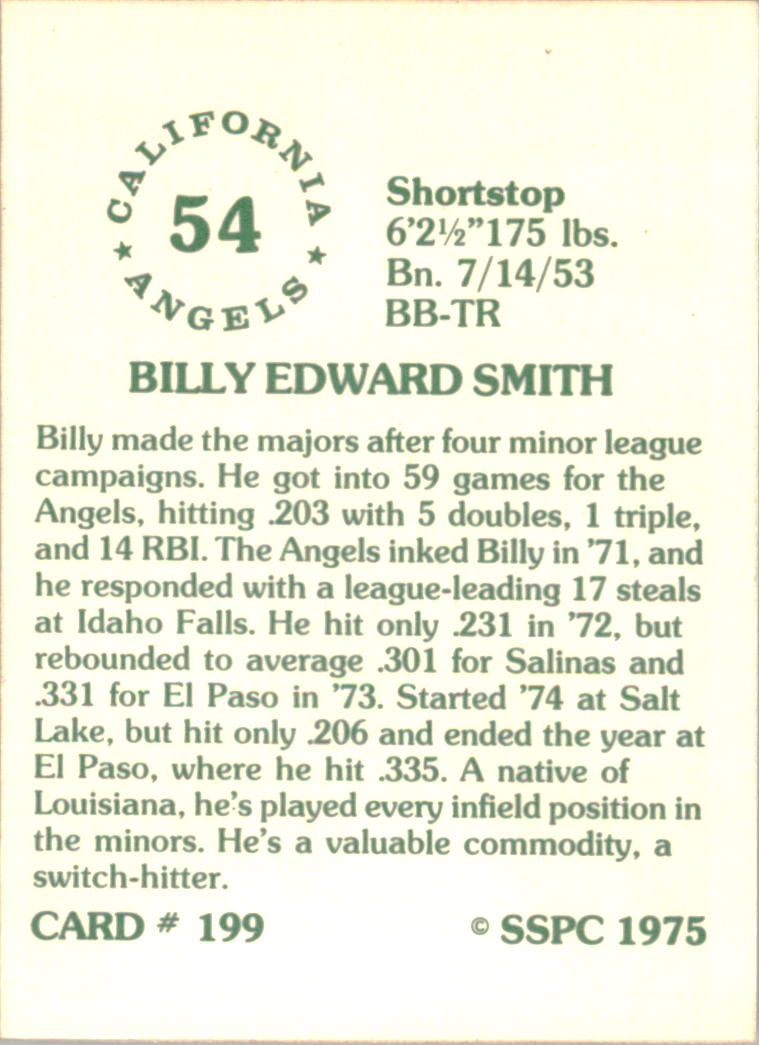 1976 SSPC #199 Billy Smith back image