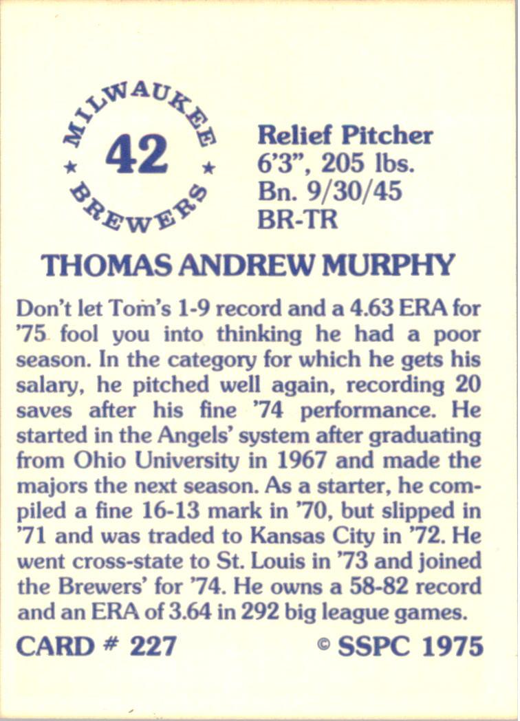 1976 SSPC #227 Tom Murphy back image