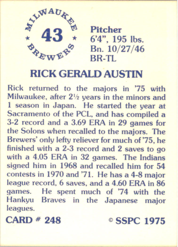 1976 SSPC #248 Rick Austin UER/(Photo actually/Larry Anderson) back image