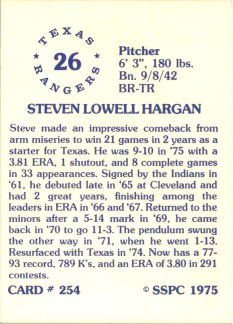 1976 SSPC #254 Steve Hargan back image