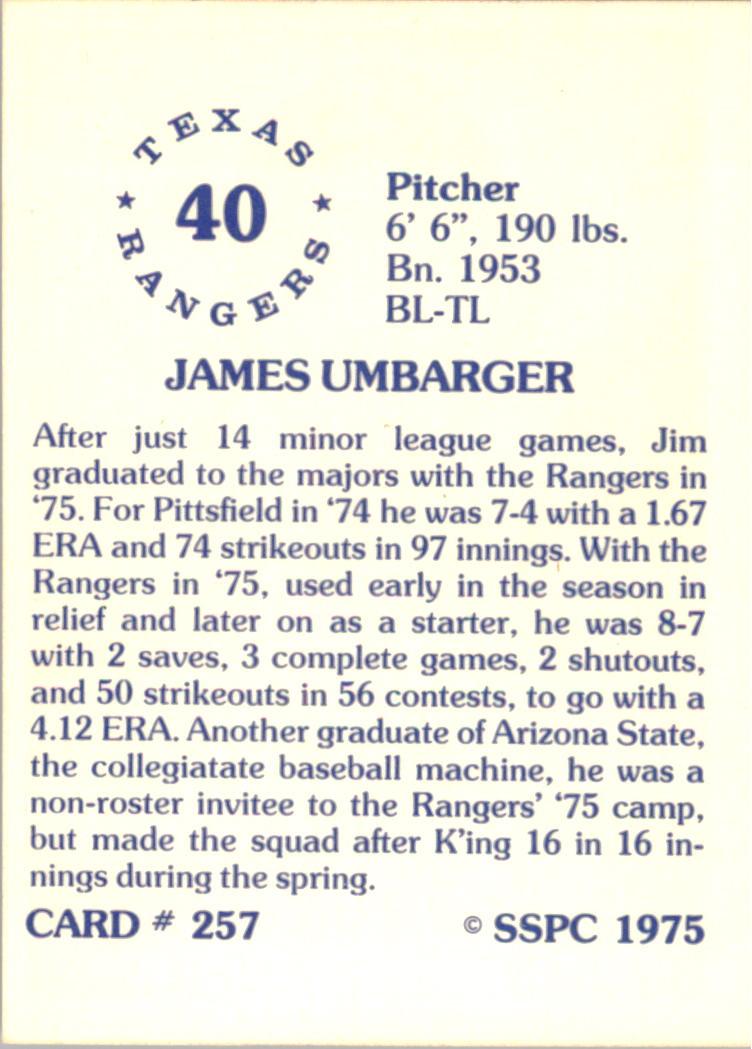 1976 SSPC #257 Jim Umbarger back image