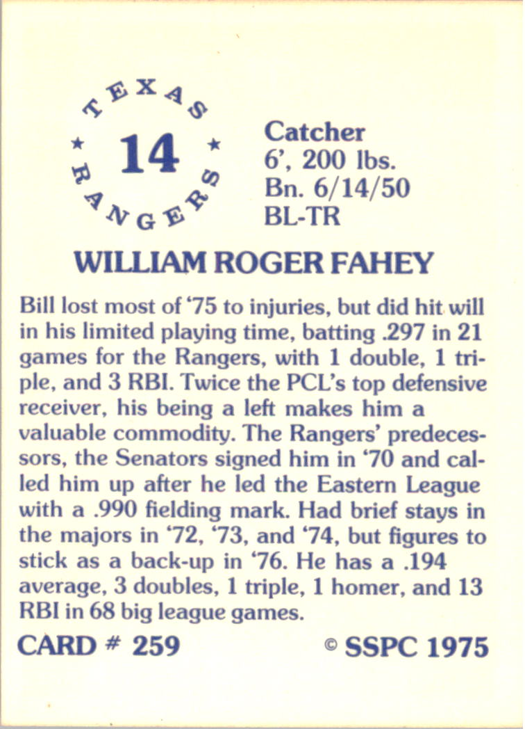 1976 SSPC #259 Bill Fahey back image