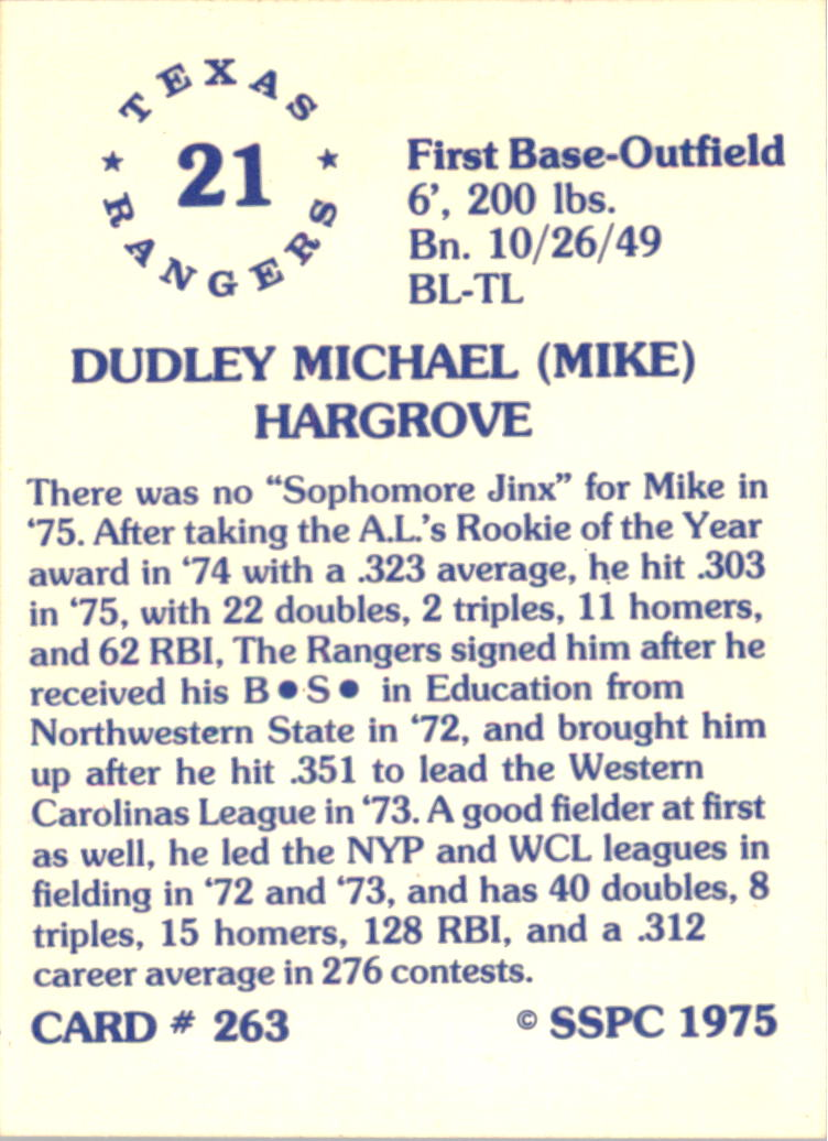 1976 SSPC #263 Mike Hargrove back image