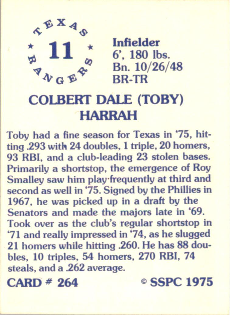 1976 SSPC #264 Toby Harrah back image