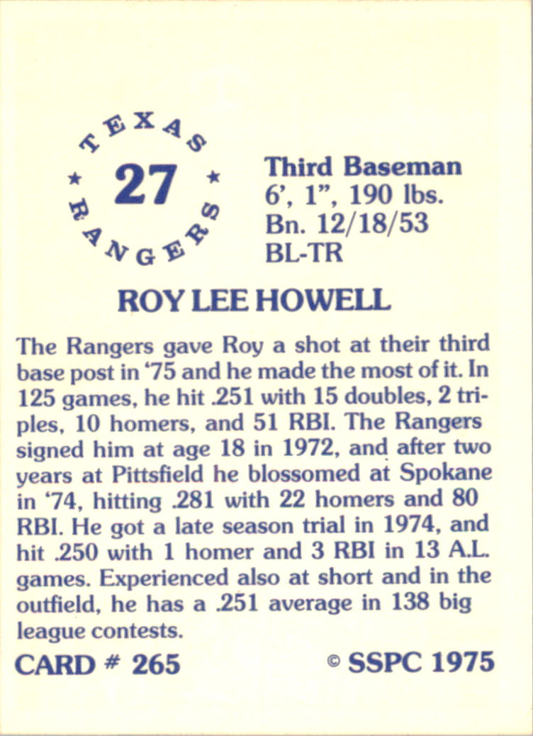 1976 SSPC #265 Roy Howell back image