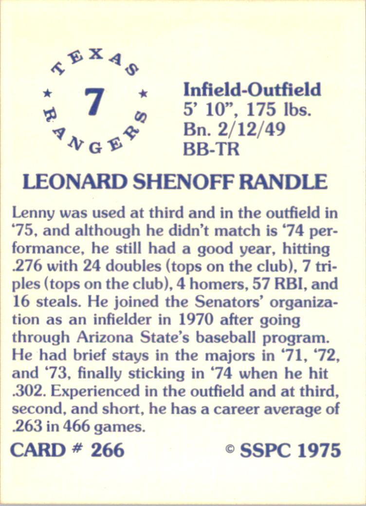 1976 SSPC #266 Lenny Randle back image