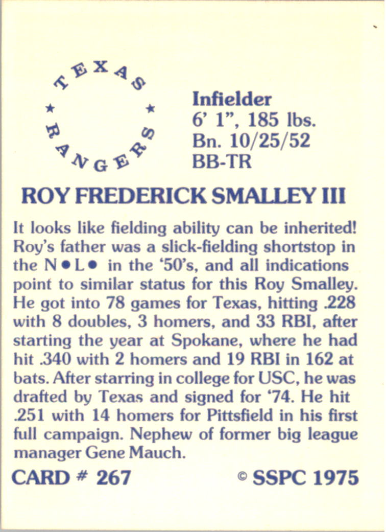 1976 SSPC #267 Roy Smalley back image