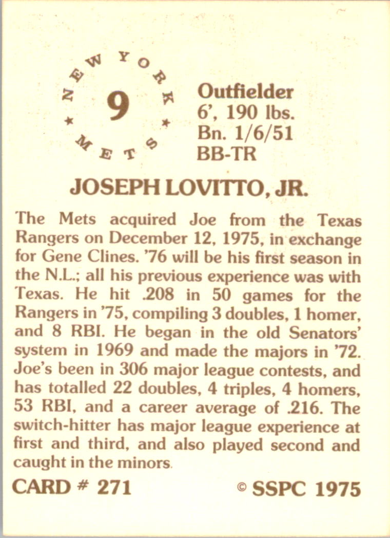 1976 SSPC #271 Joe Lovitto back image