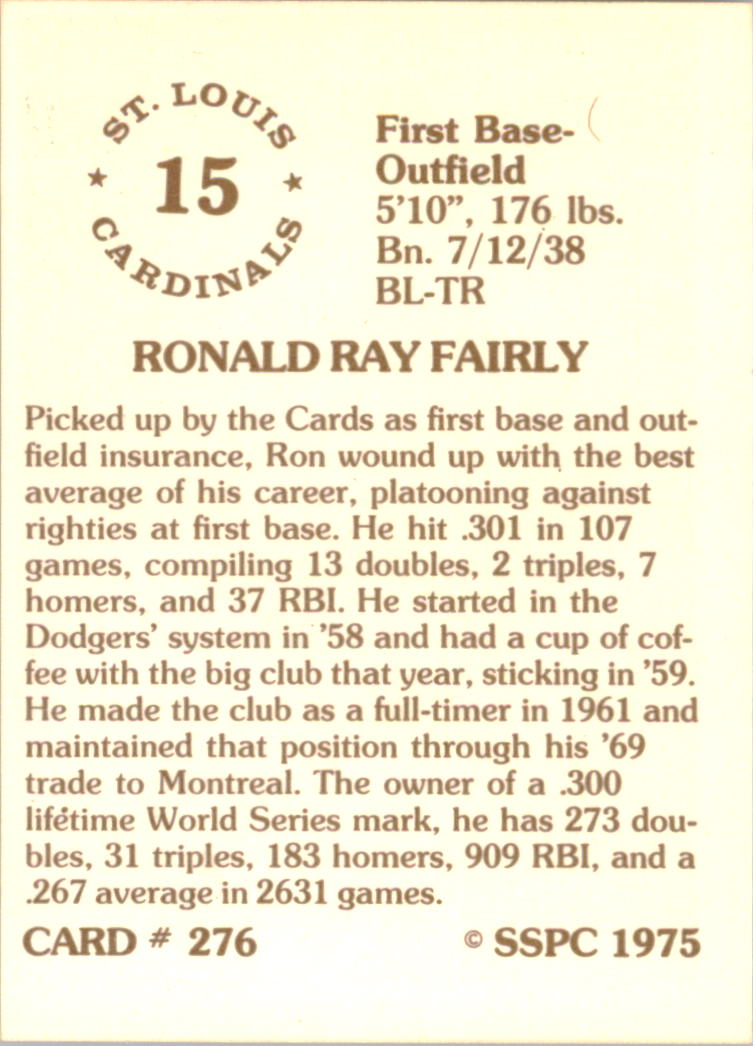 1976 SSPC #276 Ron Fairly back image