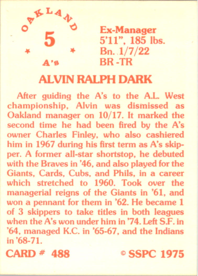 1976 SSPC #488 Alvin Dark MG back image